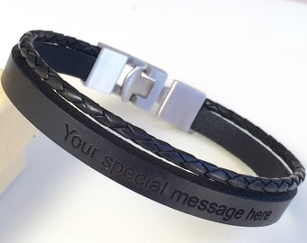 Men Leather Bracelet,Engraved Bracelet,Bangles,Bracelets ,Jewelry,Free Shipping,Jewelry for Men,Black Leather,Stainless Steel,Braided