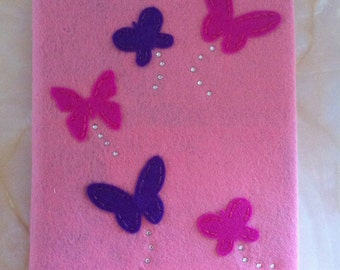 Butterfly felt covered sketchbook , a5 sketchbook, Butterfly sketchbook, secret santa gift