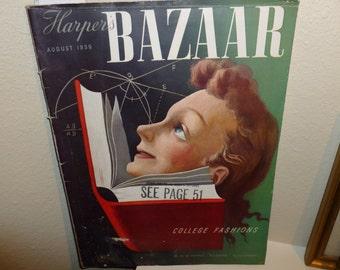 Vintage / Antique Harper's Bazaar Magazine 1939 / College Fashions