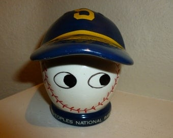 Vintage Seattle Pilots Baseball Ceramic Bank From The 1960's