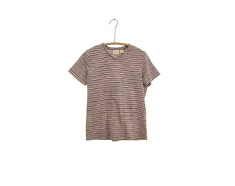 striped shirt striped tee vintage 90s t shirt retro tee shirt brown stripes tan burnt orange stripes 90s grunge shirt hipster shirt 90s top