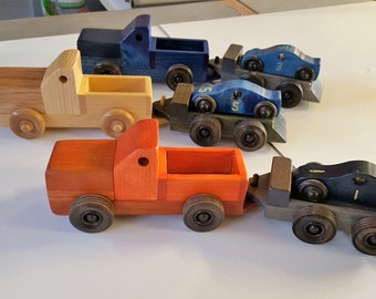 Truck with Race car and trailer Handmade Wooden Toys