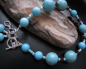 Turquoise Dyed Howlite and Limestone Bracelet