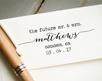 Self Inking Engagement Announcement Stamp, Custom Rubber Stamp, Wedding Save the Date, The Future Mr and Mrs, Hand Calligraphy Font