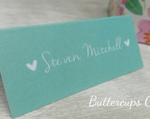 Rustic Wedding Table Place Cards Recycled Kraft Card Vintage Shabby Chic Name Places Mint Name Place Cards modern place cards weddings