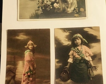 3 colorful old postcards, 1910s, representatives of children