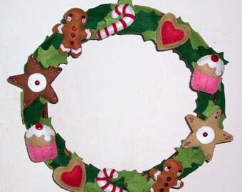 Christmas wreath with felt pastries