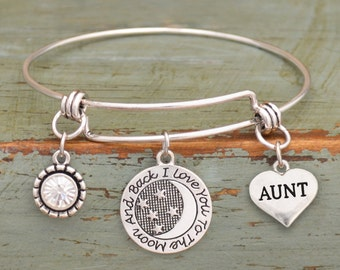 Love You To The Moon Aunt Memory Wire Bracelet
