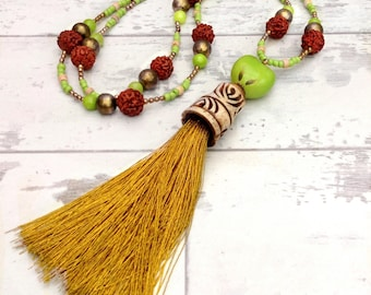 Long tassel statement necklace, ethnic jewelry necklace, long tribal necklace, beaded jewelry, long tassel necklace, bohemian jewelry