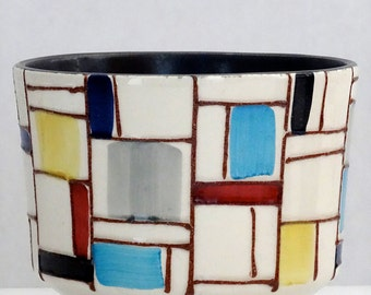 Strehla Mid Century Mondrian West German Flower Pot