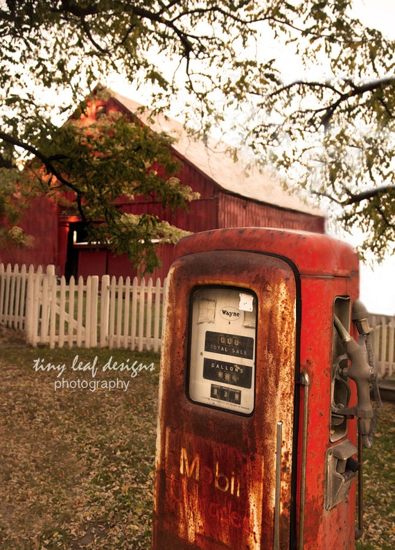 Vintage Gas Pump and Farm in Vermont Photography 5x7 8x10 11x14