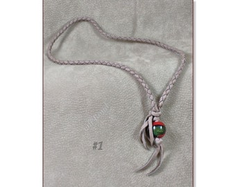 Lariat Style Deerskin Necklace with Handmade Glass Focal Bead