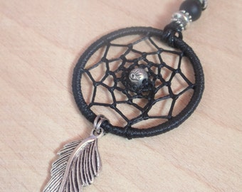 Black Dreamcatcher Pendant Necklace