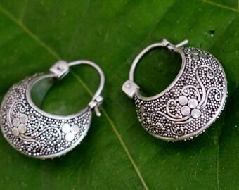 Vintage Balinese Sterling Silver Hoop Earrings