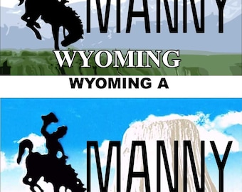 Personalized Wyoming Refrigerator Magnet State License Plate Replica