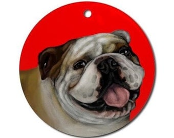 English Bulldog Dog Art Pet Porcelain Ornament Round shape