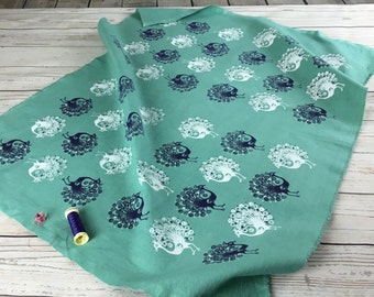 Teal green Fabric, Hand dyed green Matting cotton fabric with hand printed peacock design in white and dark blue, fabric panels
