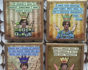 COASTERS!! Funny, sassy fairy coasters with gold trim