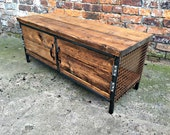 Reclaimed Industrial Chic Tv Unit Coffee table with Copper sides. Bar cafe Resturant Tables Steel and Wood Metal Hand Made tableoffice 196