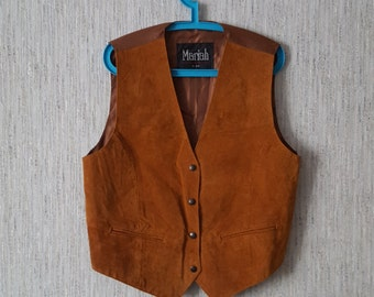 Vintage Women's Vest Brown Waistcoat Real Leather Size L leder Mariah by MPW
