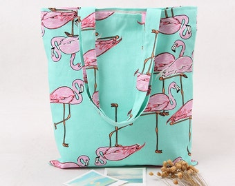 Handmade Reusable Cotton Canvas Fabric Shoulder Bag Shopping Bag Tote Flamingo Design Pink Green Inner Lining And Inner Pocket.