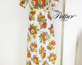 Vintage cotton floral print maxi dress