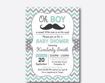 Mustache Baby Shower Invitation, Mustache Invitation, Little Man, Boy Baby Shower, Mint Gray Chevron, Baby Sprinkle, Personalized (SBS.30)