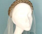 Beautiful Vintage 1930s Bridal Headpiece.  Rare Art Deco Headband.  Unique Wedding Tiara. Metallic Copper Crown