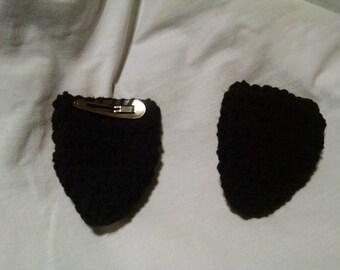 Crocheted Black Puppy Ear Barrettes