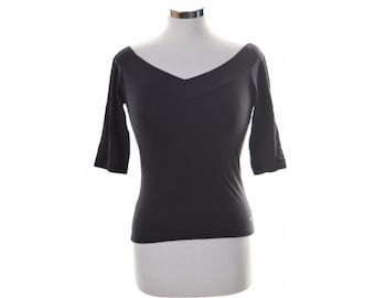 Calvin Klein Womens Top Blouse Large Black Nylon Lycra