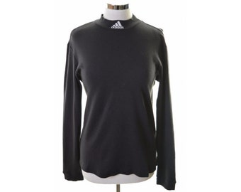 Adidas Womens Blouse Top Size 10 Small Black