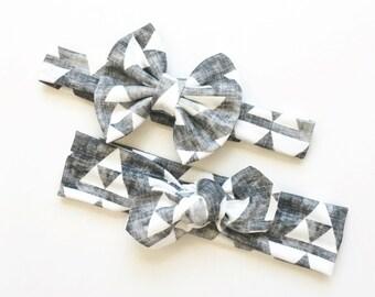 Organic Stone Grey Head Wrap - Grey Arrow Baby Head Wrap - Organic Baby Bow - Bow Headband - Boho Adorable Toddler/Little Girl Head Wrap