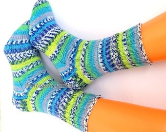 Blue White Yellow Green Hand Knitted Socks Blue Women's Socks Blue White Yellow Green Girl's Socks Warm Socks Soft Socks Winter Socks Gift