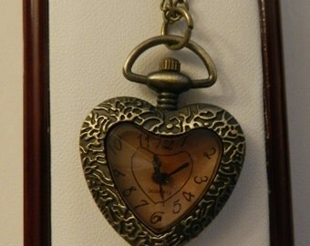 Valentine Sale Beautiful Bronzed Heart Shaped Watch  necklace v5