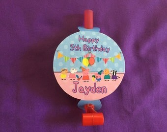 12 Personalized Peppa Pig Party Blowouts, Party Blowers, Party Favors