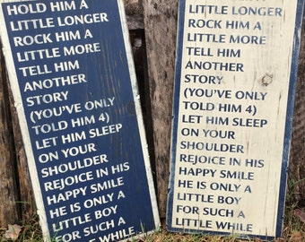 Wooden Sign - Hold Him A Little Longer... - Baby - Pallet wood - Rustic -