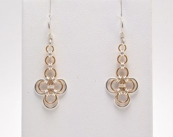 Japanese Earrings in Sterling Silver and Jewelers Brass