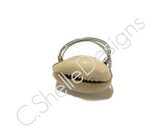 Nautical Beach Jewelry - Cowrie shell ring