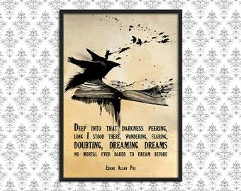 SALE A3 Print - The Raven - Edgar Allan Poe - Art Print Poster -  Wall Decor, Inspirational Print, Home Decor, Gift,