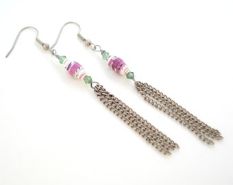 Paper bead earrings-Quilled earrings-Unique-Handmade-Recycled beads-Eco friendly-Glass beads-Handmade jewelry-Greek jewelry-Gift for her