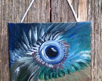 Mini Acrylic Painting of a Bird's Blue Eye