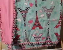 Paris fleece tie blanket 54 X 58