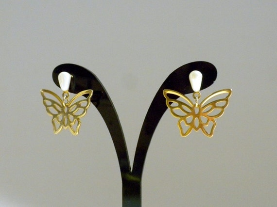 butterfly dangle earrings butterfly post by bunnyfindsvintage