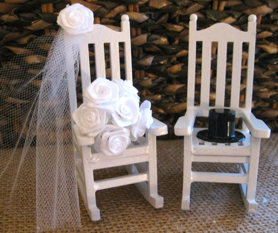 Rustic Miniature Rocking Chairs Cake Topper with Veil/Bouquet/Top Hat in Choice of 3 Colors