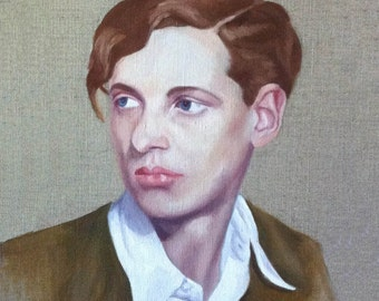 Annemarie. An original framed oil painting of Annemarie Schwarzenbach on stretched linen by Mel Evans. 38cm x 46cm.
