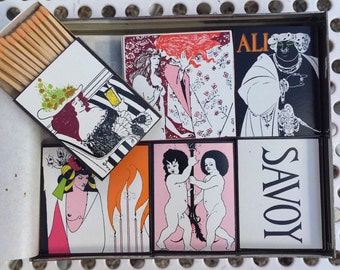 Matches vintage collection Ali Baba Dorvan artist graphic aubrey beardsley