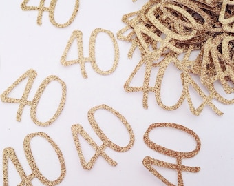 Glitter Number Confetti - 40th Birthday Confetti - Custom Age Confetti - Table Scatter - Gold Script Confetti - Gold Confetti - Confetti
