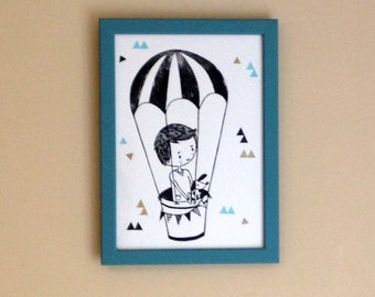 Original Linocut Print, Air Balloon, framed