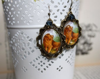Earrings with vintage picture - Safari lion earrings