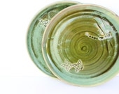 Two Handmade decorated ceramic plates ,Dessert, luncheon ceramic serving plates ,Dragonfly,Butterfly
